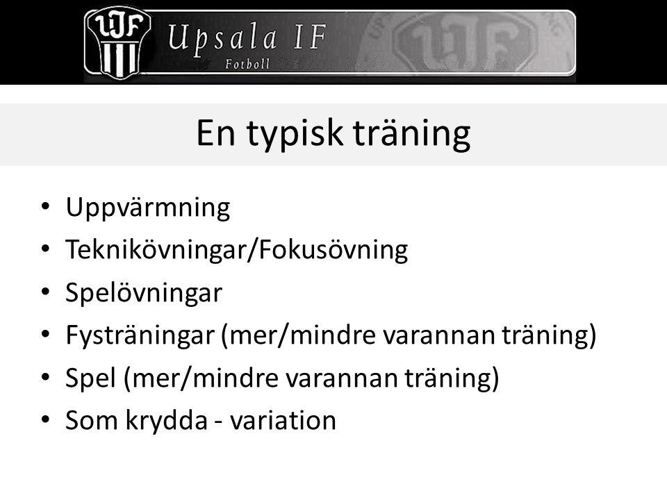En typisk träning Uppvärmning Teknikövningar/Fokusövning Spelövningar