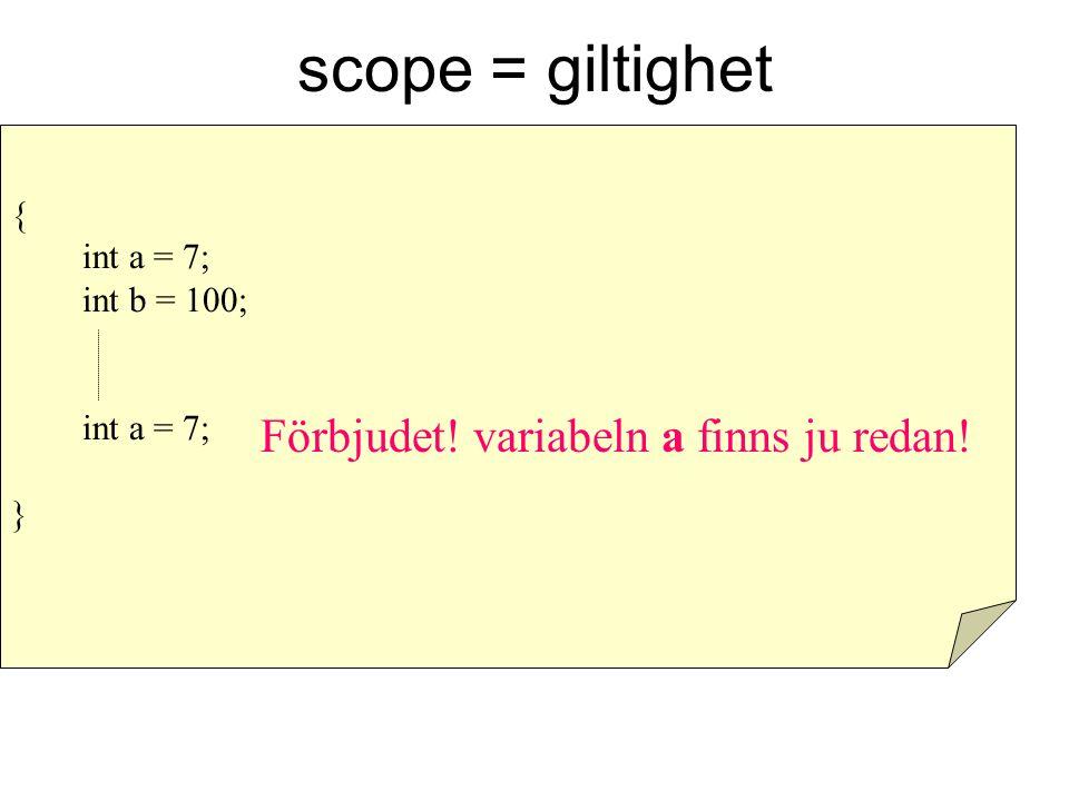 scope = giltighet Förbjudet! variabeln a finns ju redan! { int a = 7;
