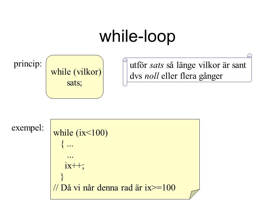 while-loop utför sats så länge vilkor är sant dvs noll eller flera gånger. princip: while (vilkor)