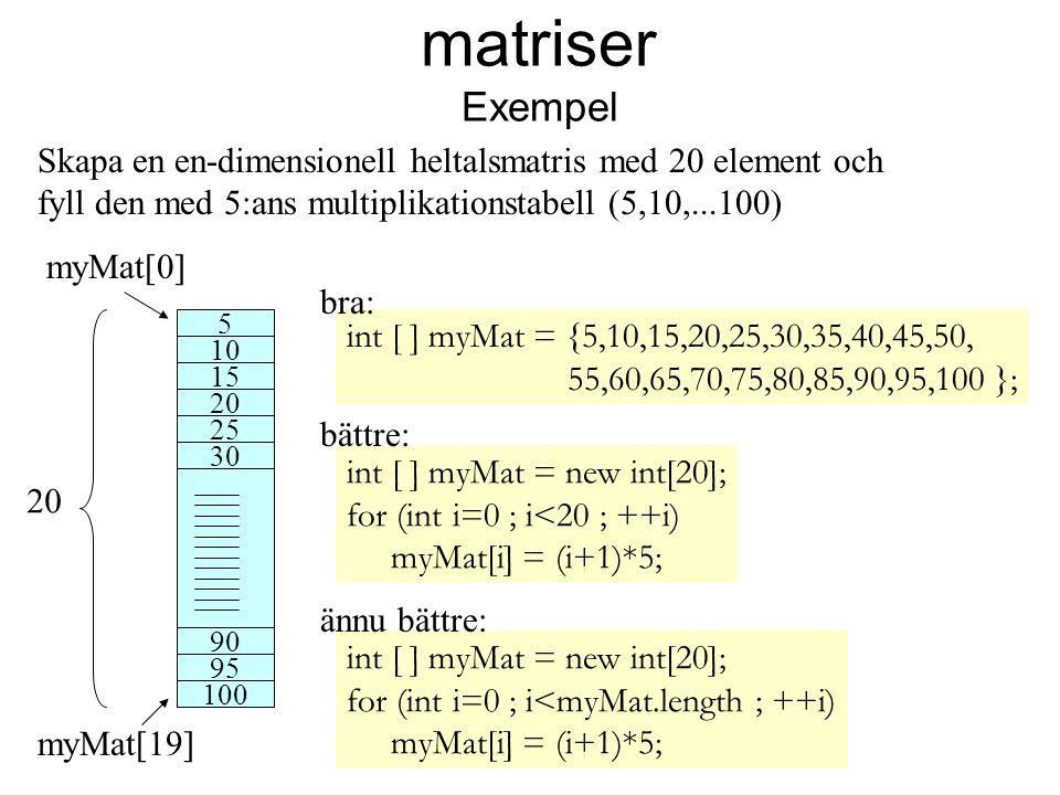 matriser Exempel Skapa en en-dimensionell heltalsmatris med 20 element och fyll den med 5:ans multiplikationstabell (5,10,...100)