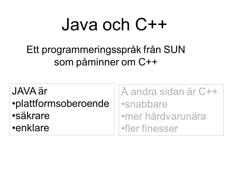 Ett programmeringsspråk från SUN som påminner om C++