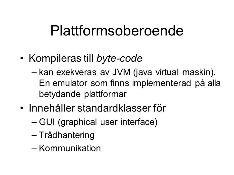Plattformsoberoende Kompileras till byte-code