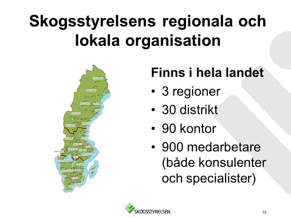 Skogsstyrelsens regionala och lokala organisation