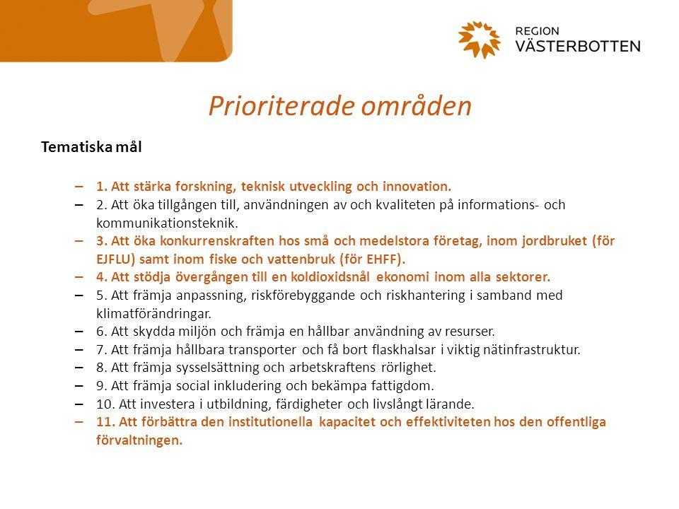 Prioriterade områden Tematiska mål
