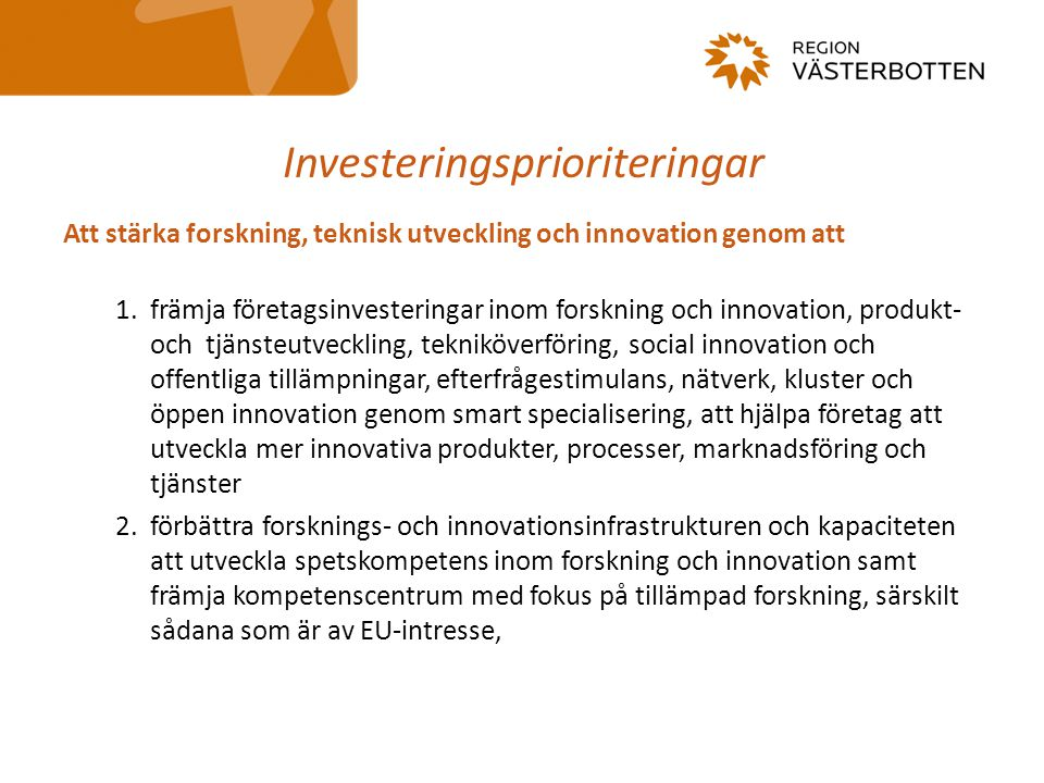 Investeringsprioriteringar