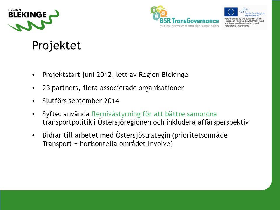 Projektet Projektstart juni 2012, lett av Region Blekinge