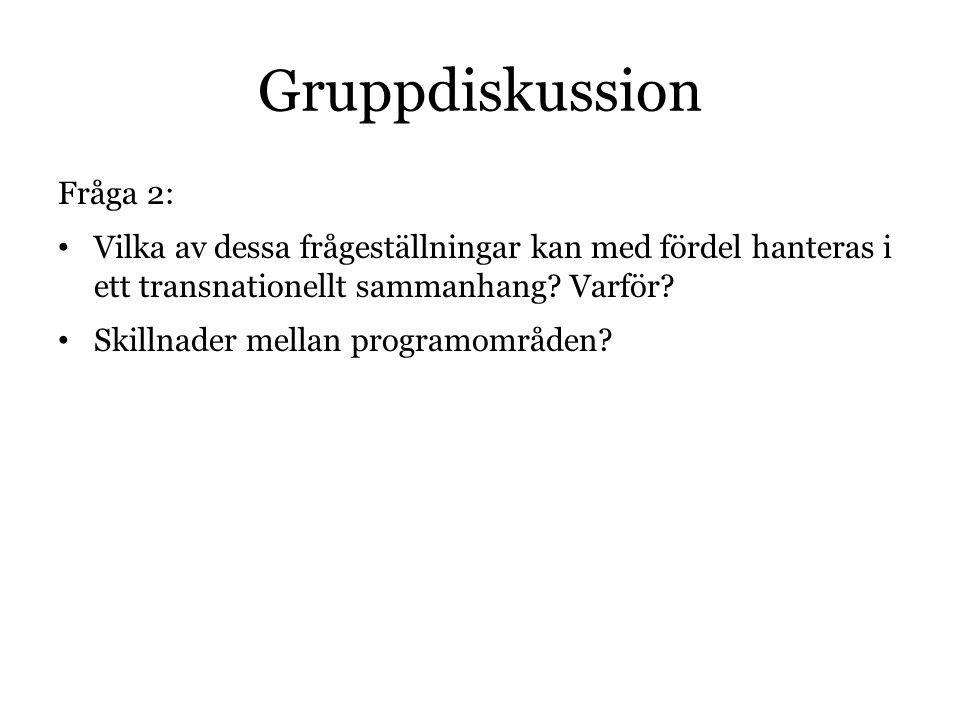 Gruppdiskussion Fråga 2: