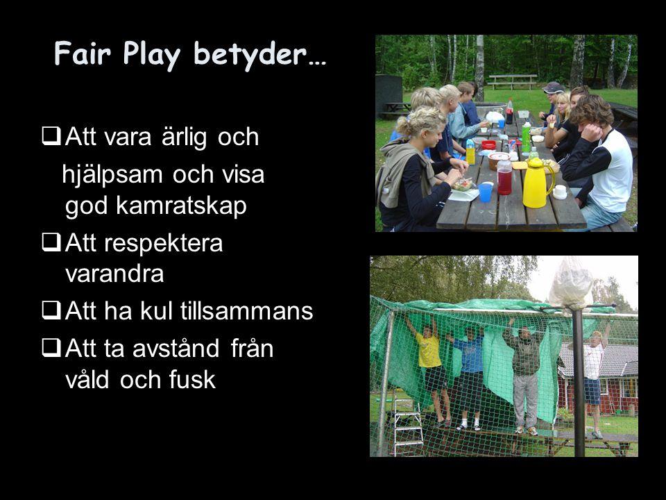 Fair Play betyder… Att vara ärlig och hjälpsam och visa god kamratskap