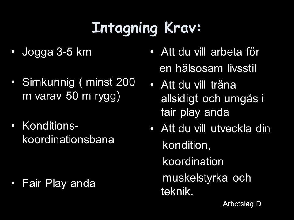 Intagning Krav: Jogga 3-5 km Simkunnig ( minst 200 m varav 50 m rygg)