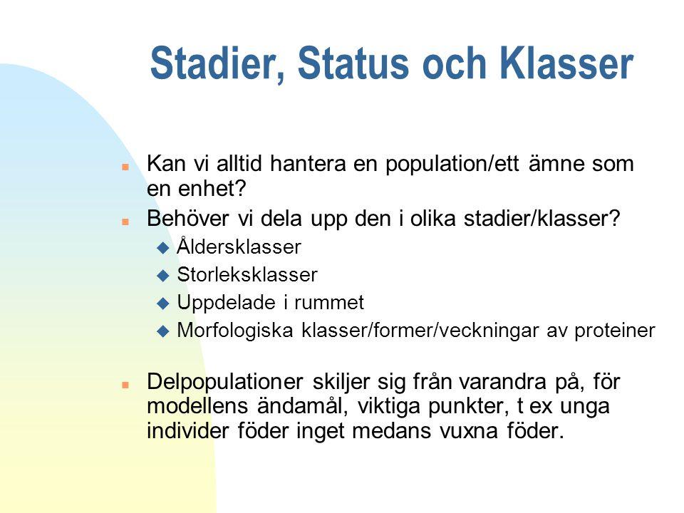 Stadier, Status och Klasser