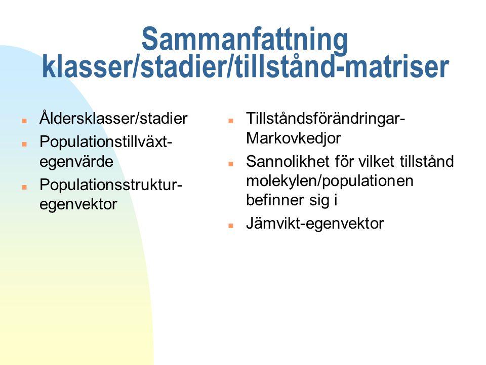Sammanfattning klasser/stadier/tillstånd-matriser