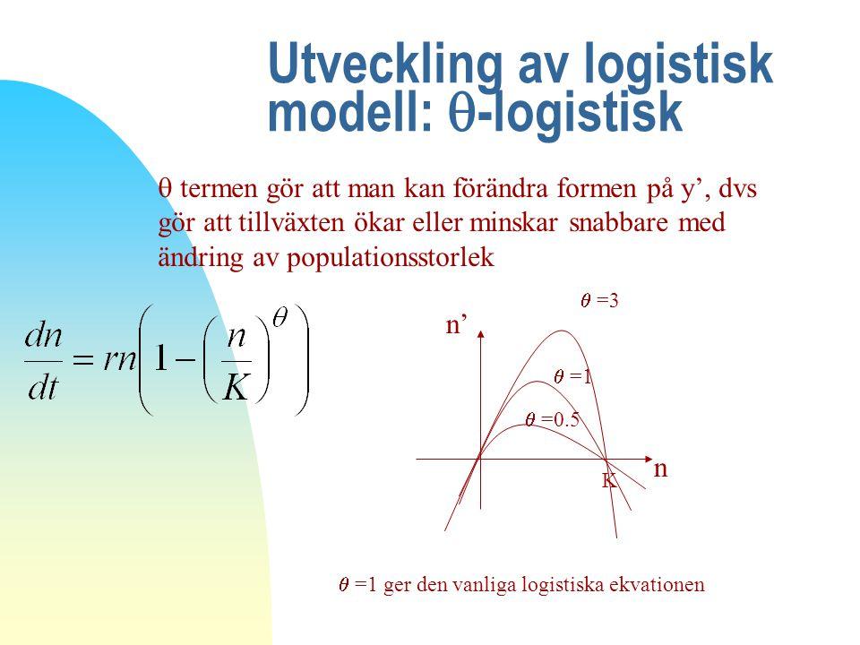 Utveckling av logistisk modell: -logistisk