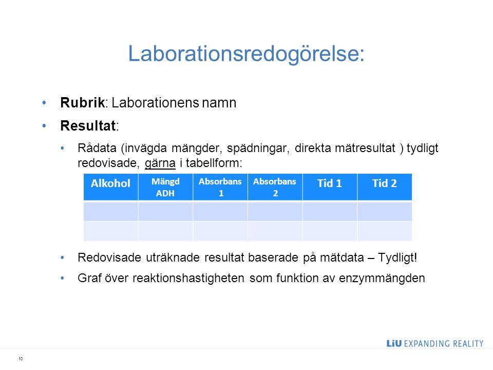 Laborationsredogörelse: