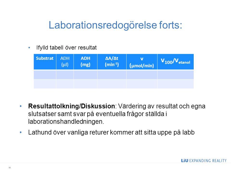 Laborationsredogörelse forts: