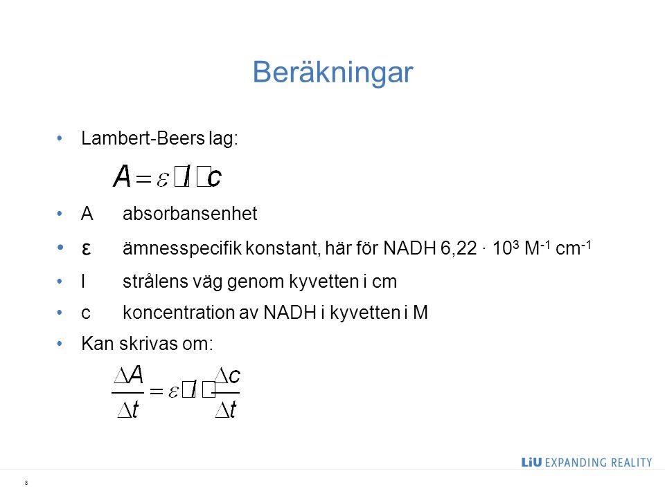 Beräkningar ε ämnesspecifik konstant, här för NADH 6,22 ∙ 103 M-1 cm-1