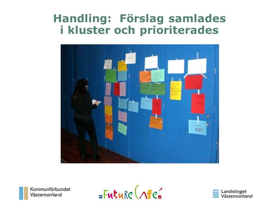 Handling: Förslag samlades i kluster och prioriterades