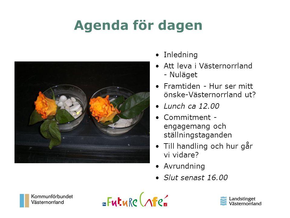 Agenda för dagen Inledning Att leva i Västernorrland - Nuläget