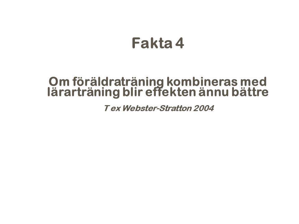2017-04-06 Fakta 4. Om föräldraträning kombineras med lärarträning blir effekten ännu bättre. T ex Webster-Stratton 2004.