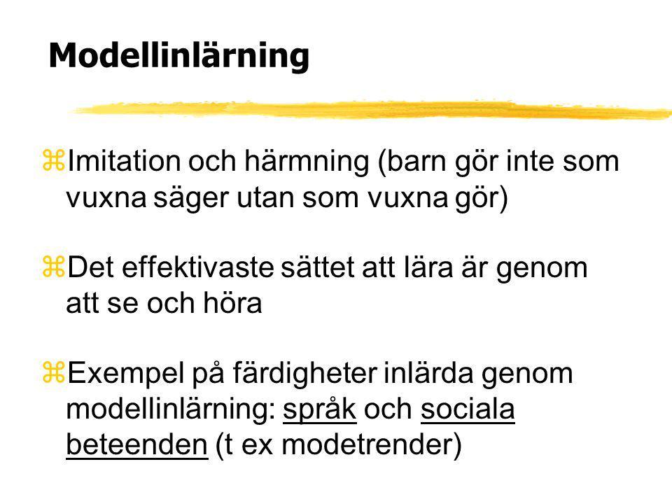 Modellinlärning Imitation och härmning (barn gör inte som vuxna säger utan som vuxna gör) Det effektivaste sättet att lära är genom att se och höra.