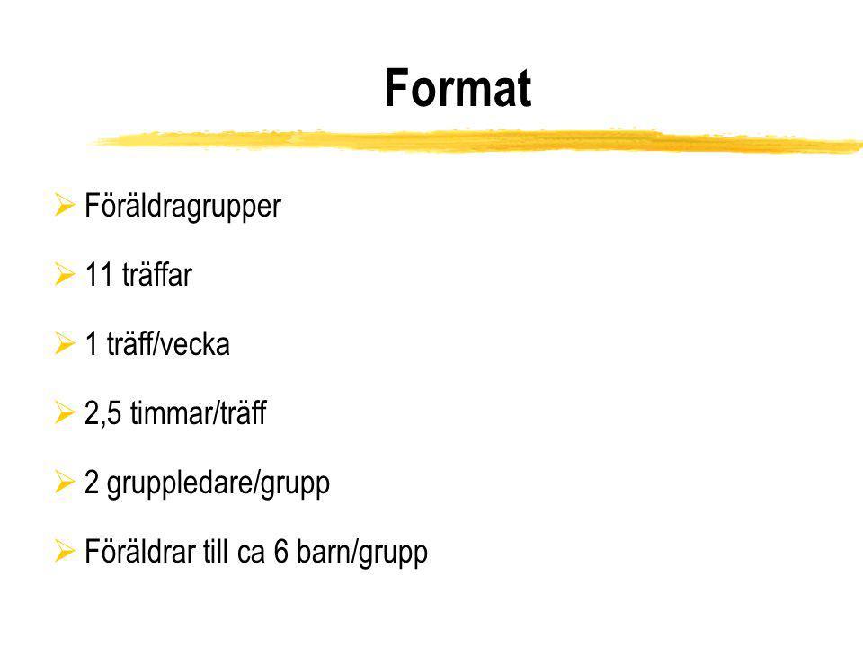 Format Föräldragrupper 11 träffar 1 träff/vecka 2,5 timmar/träff
