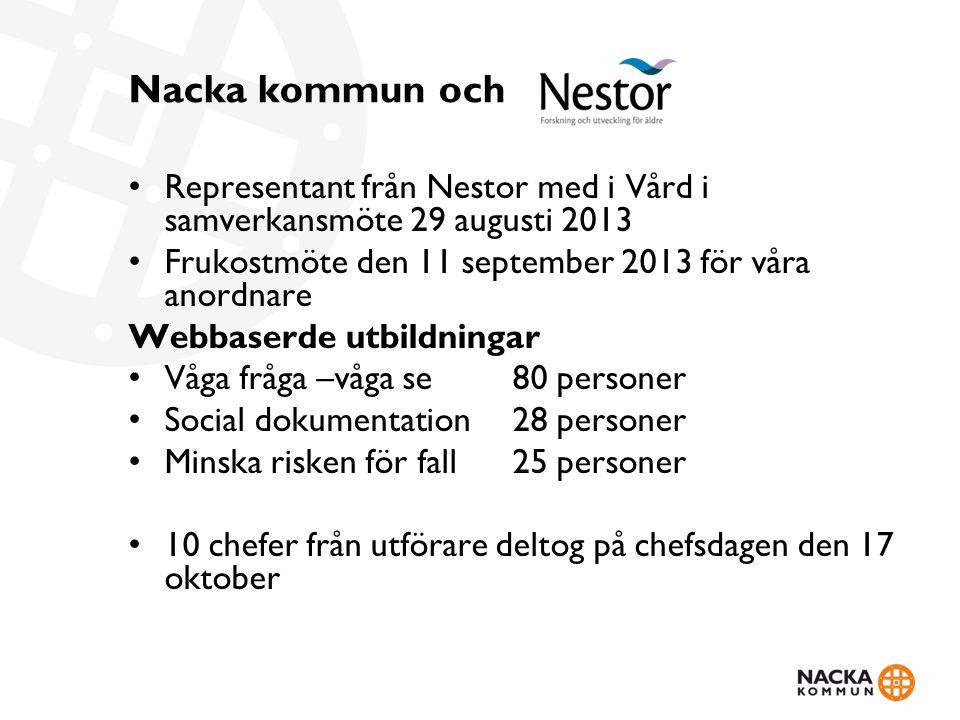 Nacka kommun och Representant från Nestor med i Vård i samverkansmöte 29 augusti 2013. Frukostmöte den 11 september 2013 för våra anordnare.