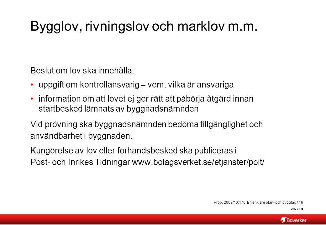 Bygglov, rivningslov och marklov m.m.