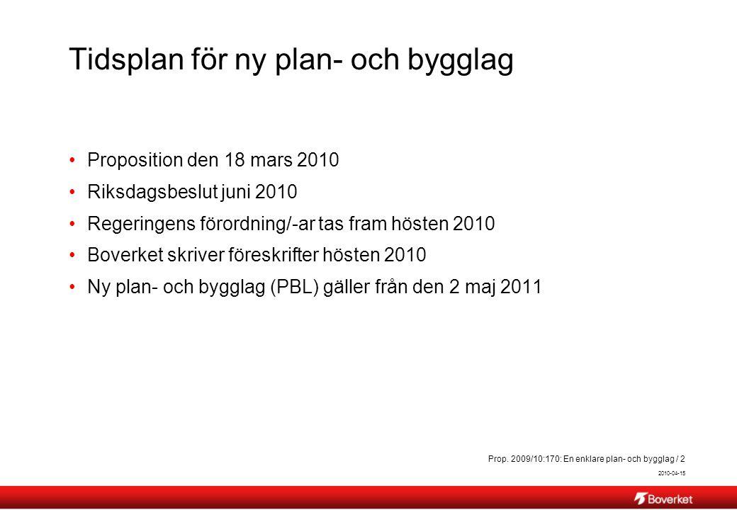 Tidsplan för ny plan- och bygglag