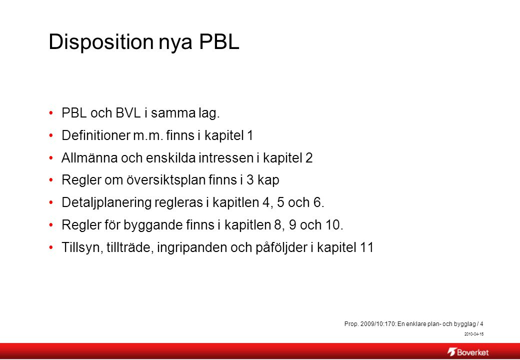 Disposition nya PBL PBL och BVL i samma lag.