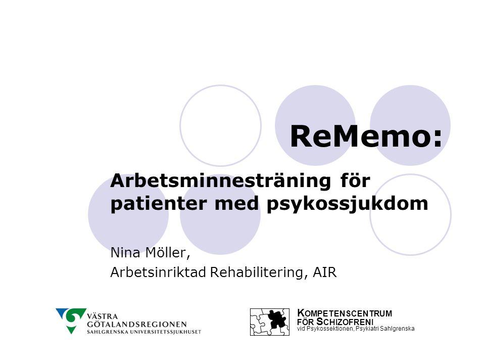 ReMemo: Arbetsminnesträning för patienter med psykossjukdom