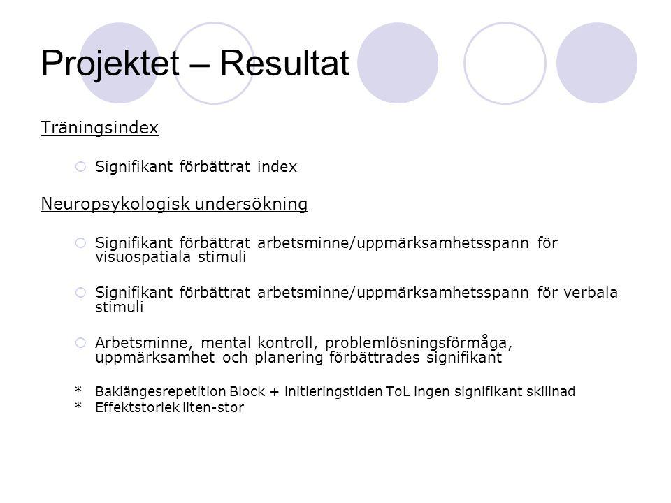 Projektet – Resultat Träningsindex Neuropsykologisk undersökning