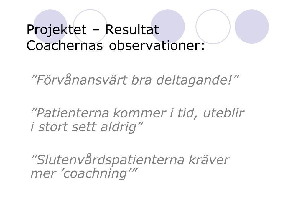 Projektet – Resultat Coachernas observationer:
