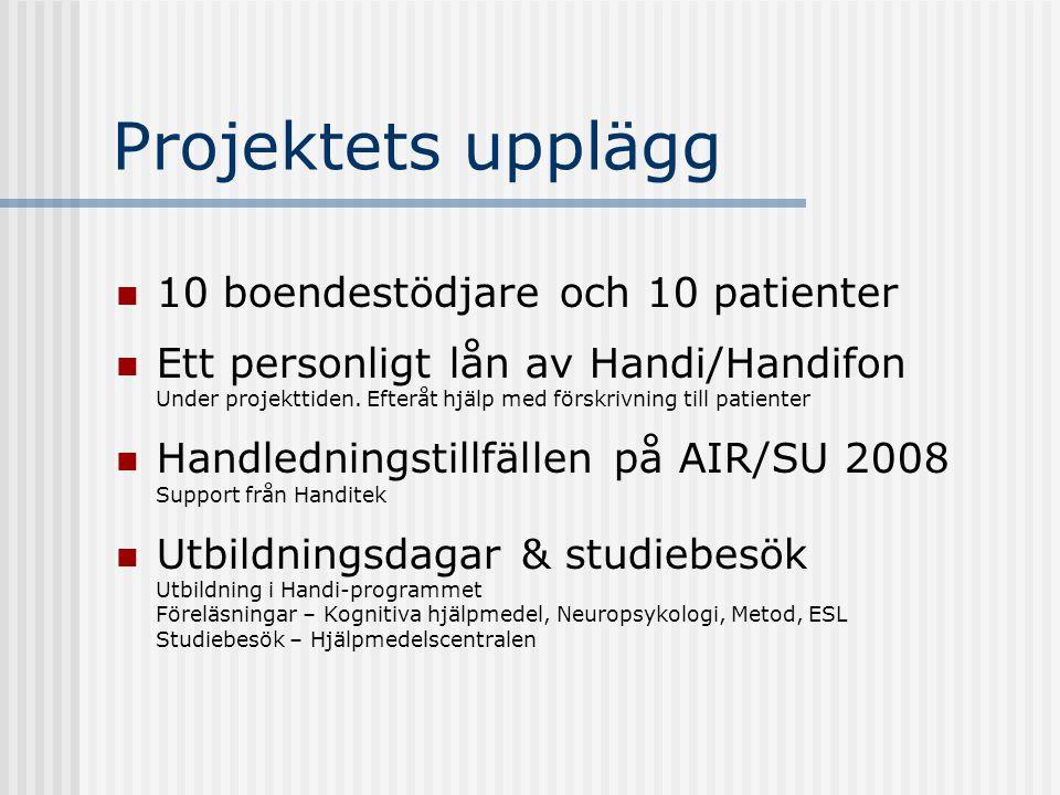 Projektets upplägg 10 boendestödjare och 10 patienter