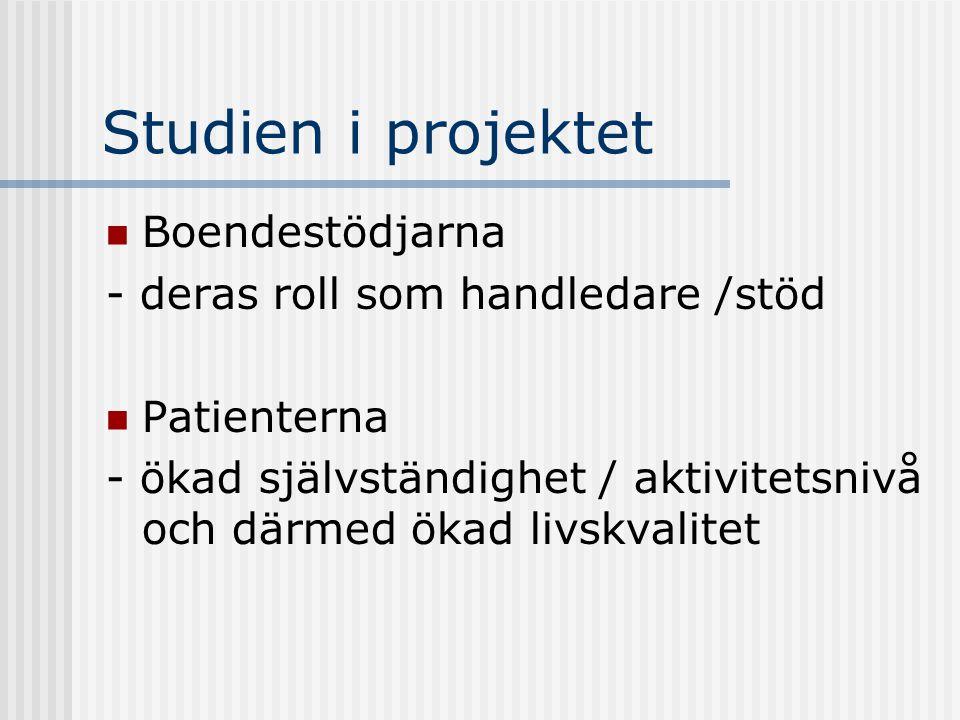 Studien i projektet Boendestödjarna - deras roll som handledare /stöd