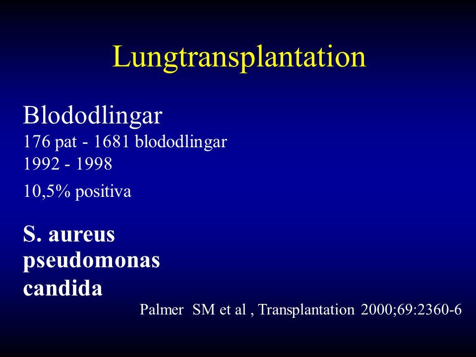 Lungtransplantation Blododlingar S. aureus pseudomonas candida