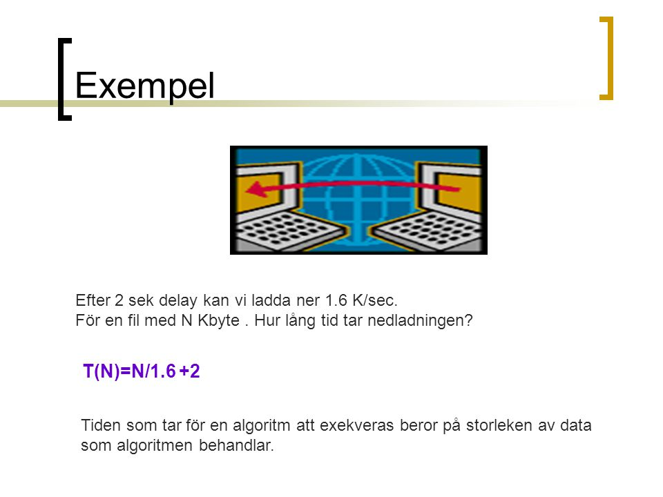 Exempel T(N)=N/1.6 +2 Efter 2 sek delay kan vi ladda ner 1.6 K/sec.