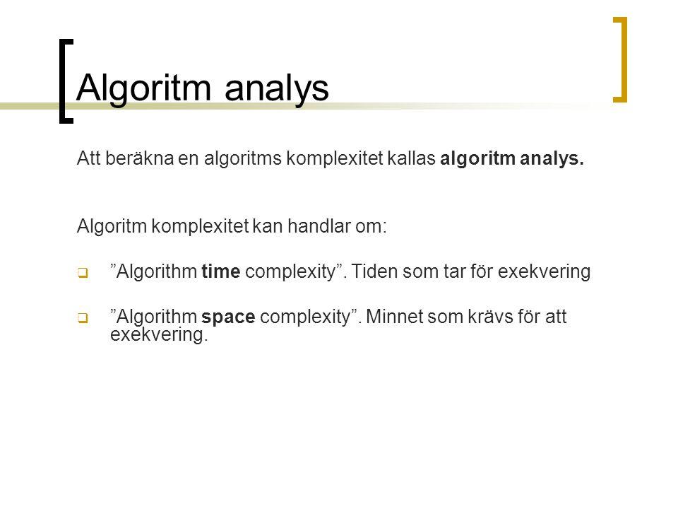 Algoritm analys Att beräkna en algoritms komplexitet kallas algoritm analys. Algoritm komplexitet kan handlar om: