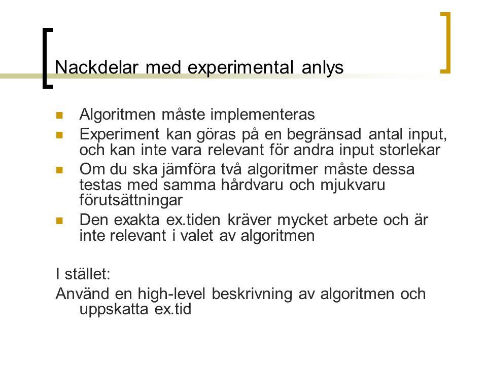 Nackdelar med experimental anlys