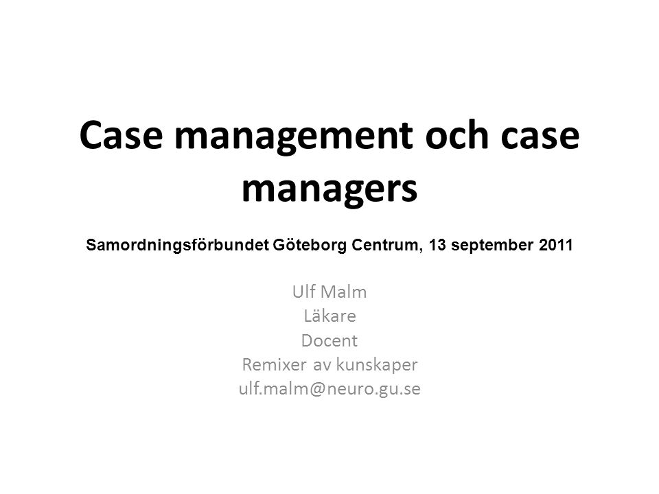 Case management och case managers