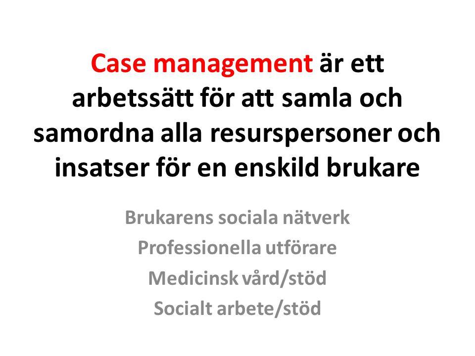 Brukarens sociala nätverk Professionella utförare
