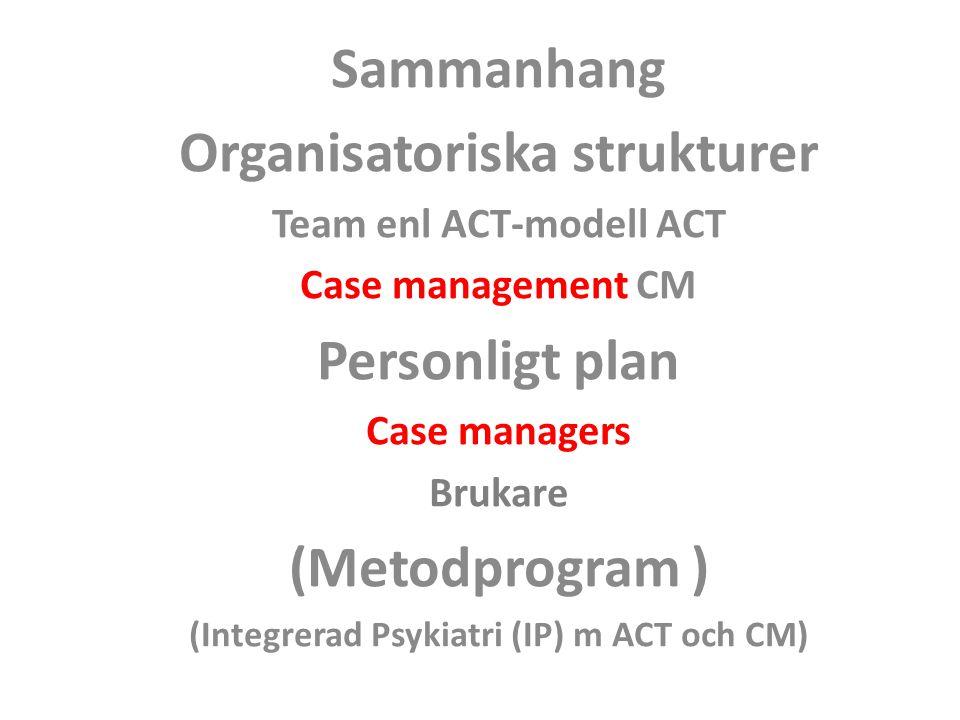 Sammanhang Organisatoriska strukturer Personligt plan (Metodprogram )