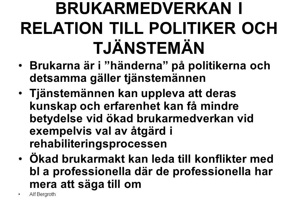 BRUKARMEDVERKAN I RELATION TILL POLITIKER OCH TJÄNSTEMÄN