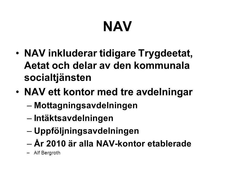 NAV NAV inkluderar tidigare Trygdeetat, Aetat och delar av den kommunala socialtjänsten. NAV ett kontor med tre avdelningar.