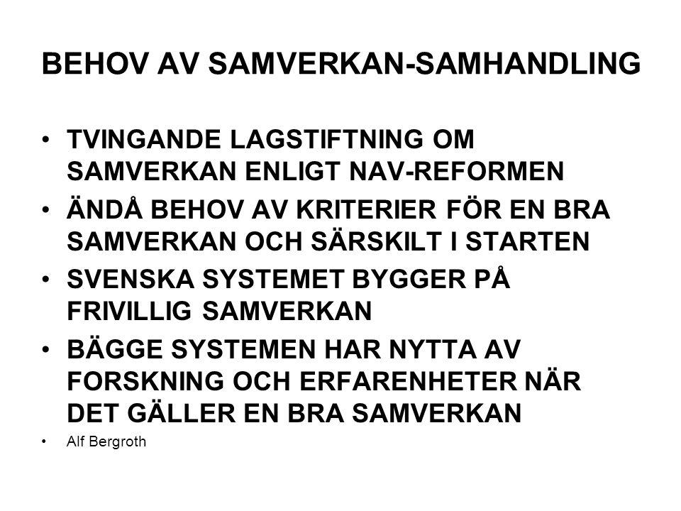 BEHOV AV SAMVERKAN-SAMHANDLING