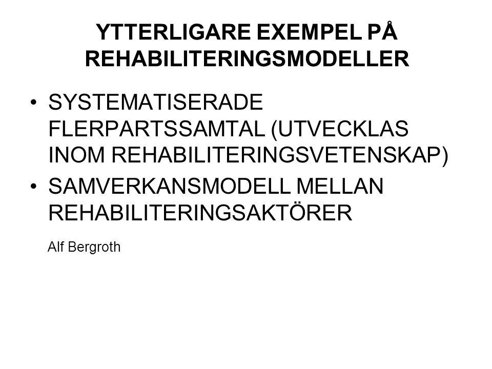 YTTERLIGARE EXEMPEL PÅ REHABILITERINGSMODELLER