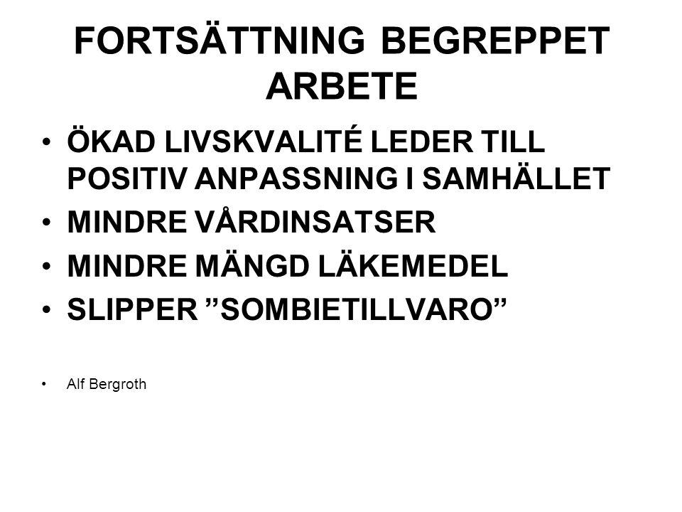 FORTSÄTTNING BEGREPPET ARBETE