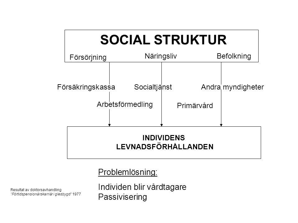 SOCIAL STRUKTUR Problemlösning: Individen blir vårdtagare