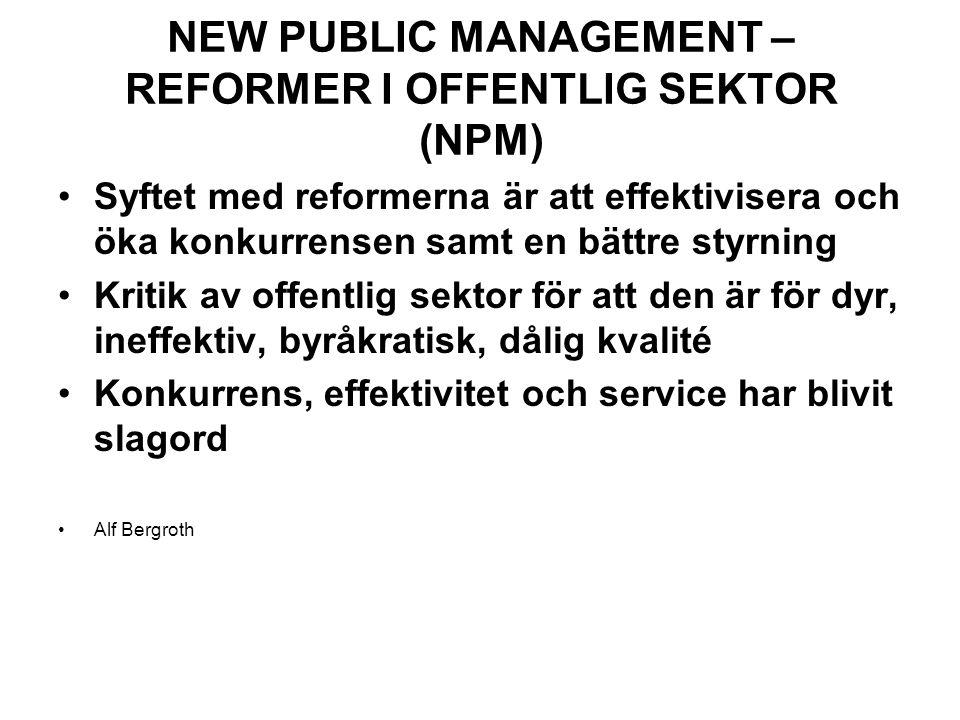 NEW PUBLIC MANAGEMENT – REFORMER I OFFENTLIG SEKTOR (NPM)