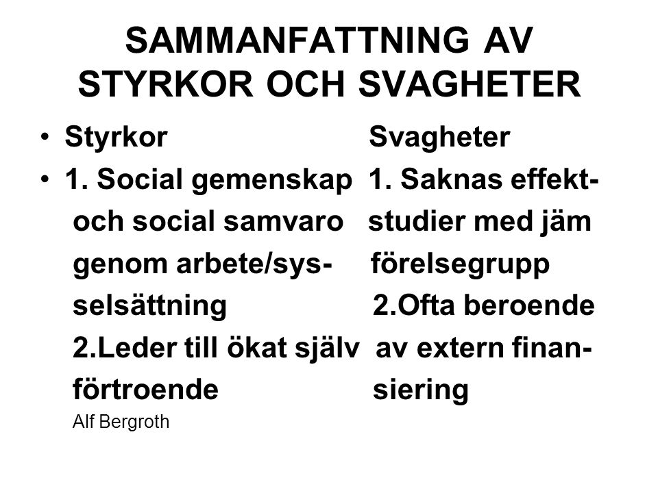 SAMMANFATTNING AV STYRKOR OCH SVAGHETER