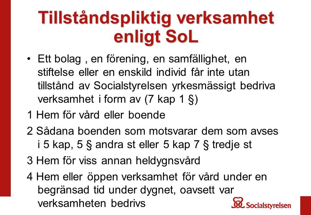 Tillståndspliktig verksamhet enligt SoL