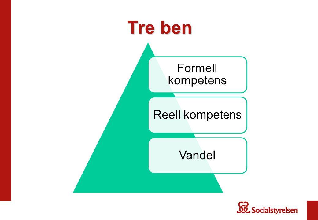 Tre ben Formell kompetens Reell kompetens Vandel
